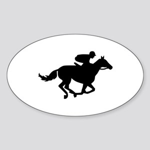 Horse race racing Sticker (Oval)